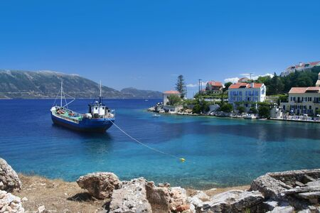 Greek fishing village Fiskardo on Cephalonia island photo