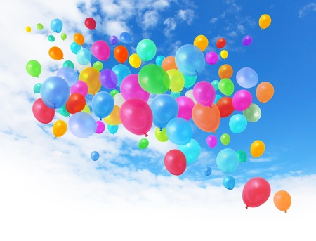 helium: Colorful birthday party balloons flying on blue sky background