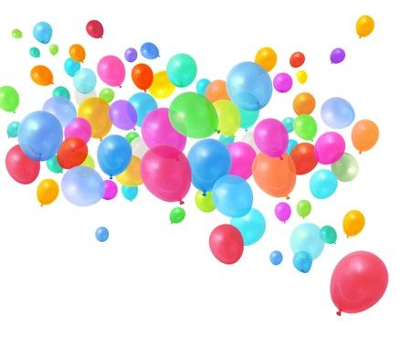 Coloré birthday party ballons volant sur fond blanc