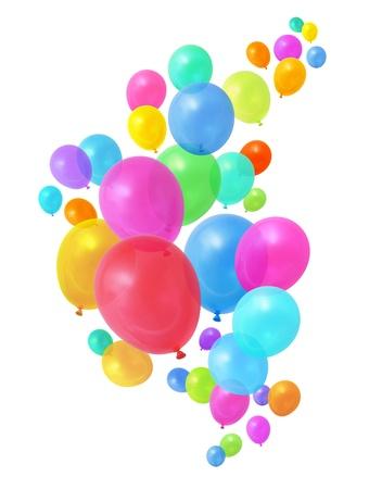 Kleurrijke verjaardags partij ballons vliegen op witte achtergrond Stockfoto