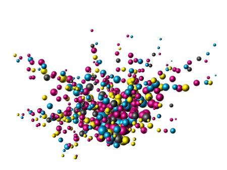 Cmyk colors atom nanoparticles exploding on white background isolated photo