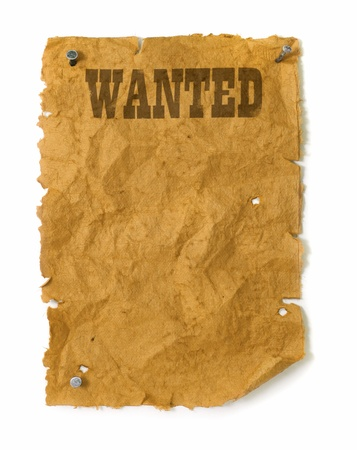 Wanted poster wild west style with nails, torn edges and bullet holes photo
