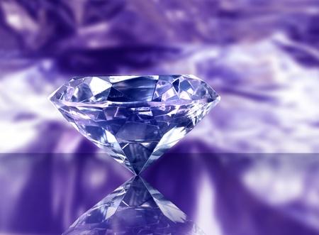 Big gemstone diamond on purple reflective background photo