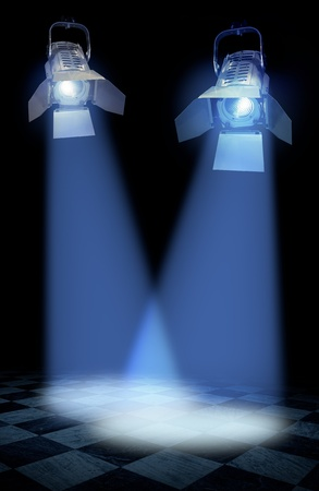 lightbeam: Professional stage spotlight lamps beams on floor, black background Stock Photo