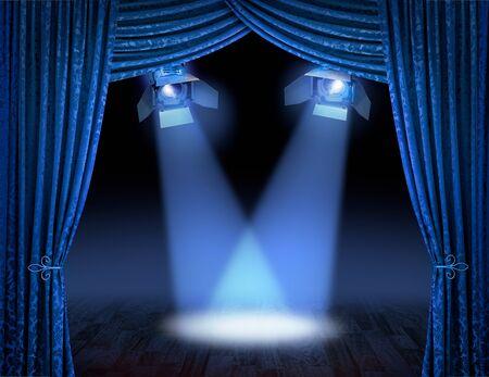 cortinas: Cortinas de escenario de teatro azul con vigas de focos Foto de archivo