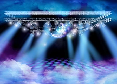 mirror ball: Bola de discoteca espejo, construcci�n de luces y humo de color en el suelo y el techo