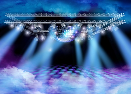 rock stage: Disco mirror ball, lights construction and color smoke on floor and ceiling