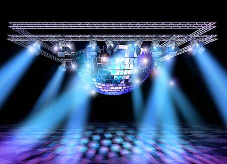 mirror ball: Etapa de iluminaci�n con focos profesionales, discoteca construcci�n de pelota y el armaz�n de espejo