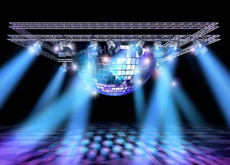 TRUSS: Stage lighting with professional spot lights, disco mirror ball and truss construction