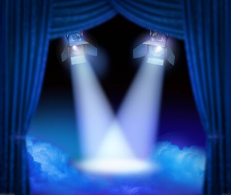 Dramatic theatre stage with spotlights beams and color smoke photo