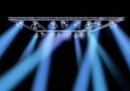 stage lighting: Rock stage lighting with professional spot lights and truss construction