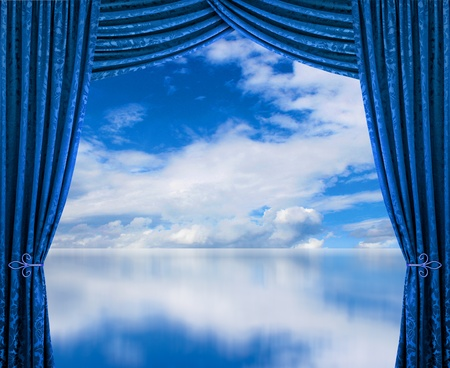 cloudscape: Blue curtains reveal perfect clean air cloudscape environment Stock Photo