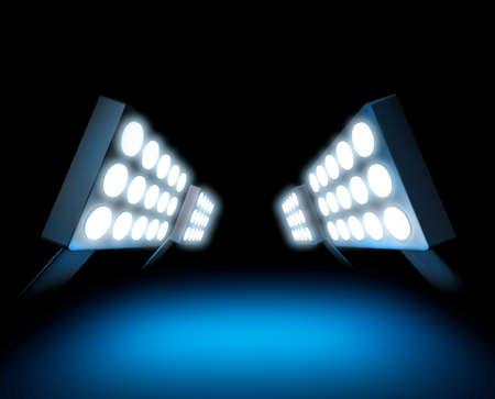 lightbeam: Stadium style lights illuminating blue surface
