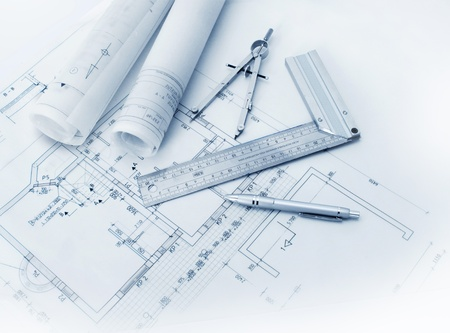 building blueprint: Construction plan tools and blueprint drawings Stock Photo