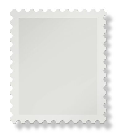 postage stamp: Blank postal stamp with soft shadow on white background, add your own design