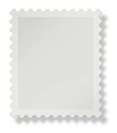 sello postal: En blanco de un sello postal con sombra suave sobre fondo blanco, agregar su propio dise�o