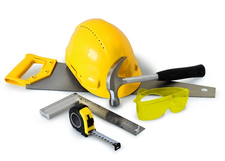 Construction tools gear and safety equipment on white background isolated Stock Photo - 9016095