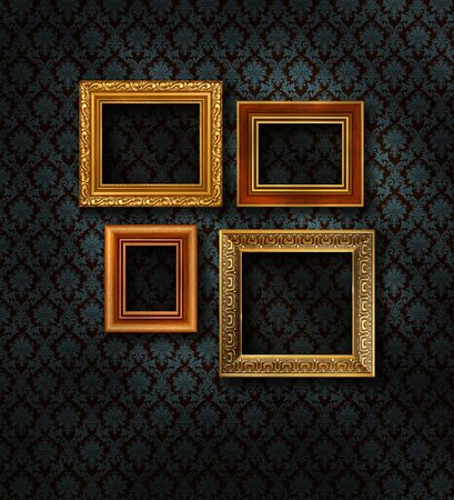 Four gilded frames on dark blue damask pattern wall paper Stock Photo - 9092512