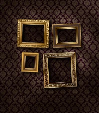 tilted: Slanted gilded frames on dark damask pattern wall paper