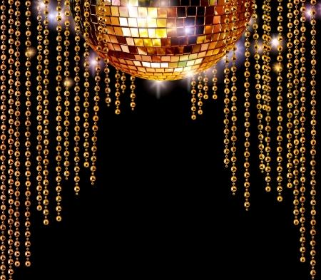 Golden disco mirror ball and glitter curtains on dark background photo