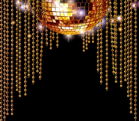 mirror ball: Golden disco mirror ball and glitter curtains on dark background Stock Photo