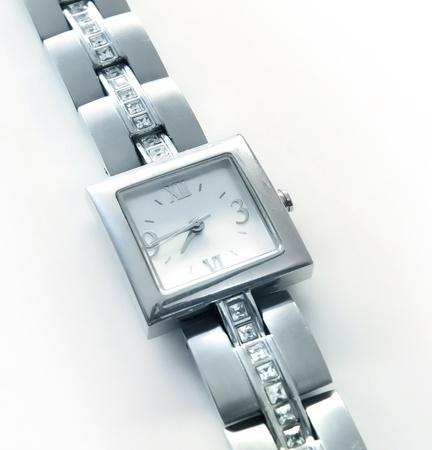 Elegant womens luxury silver wrist watch with diamonds photo