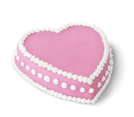 marzipan: Pink heart shape marzipan cake decorated with white whipped cream