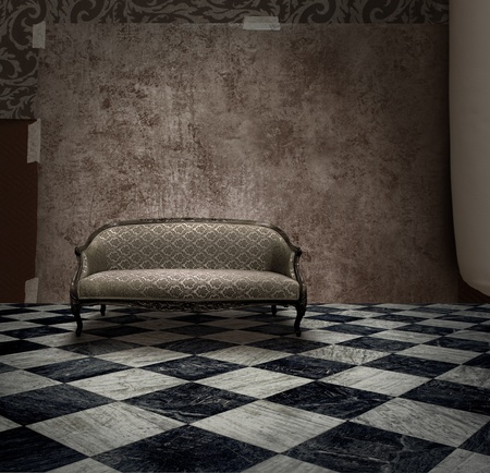 dirty room: Antique sofa in rough grunge wall and checkered marble floor room Stock Photo