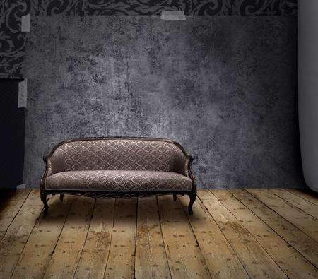 Antik Sofa in rauen Patina Wand- und alten Holzboden Zimmer
