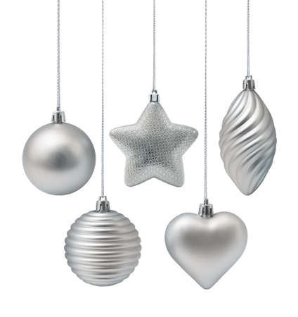 on silver: Silver Christmas decoration elements isolated on white background