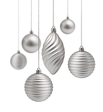 Decoraci�n de Navidad plata conjunto colgando sobre fondo blanco aislado