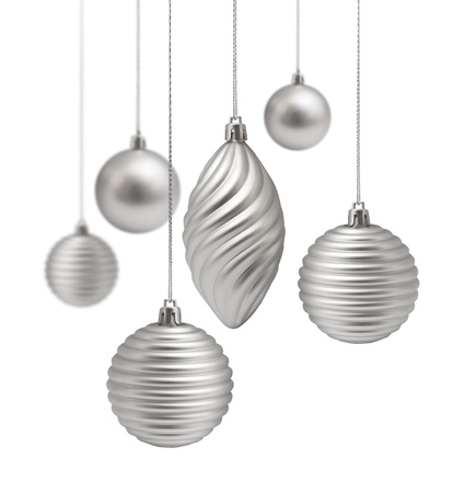 silver stars: Silver Christmas decoration set hanging on white background isolated