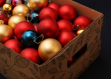 Carton box filled with Christmas decoration balls Stock Photo - 9484968