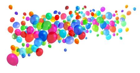 globos fiesta: Gran cantidad de globos de cumplea�os colorido partido volando sobre fondo blanco Foto de archivo