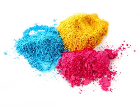 dry powder: Color chalk powder cyan magenta yellow isolated on white background Stock Photo