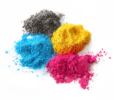 Color chalk powder cyan magenta yellow black isolated on white background photo