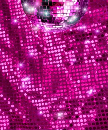 Disco mirro ball  reflecting light on pink glitter background photo