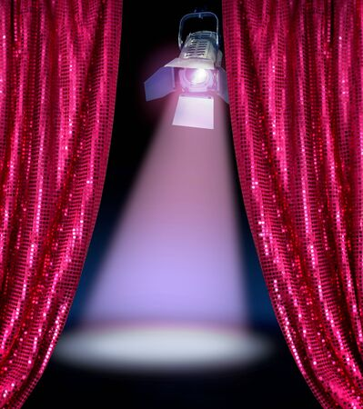 Disco curtains reveal show stage spotlight lamp dark background Stock Photo - 9703859