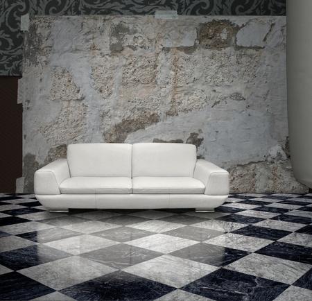 plaster wall: Grunge yeso pared sof� blanco a cuadros suelo de m�rmol