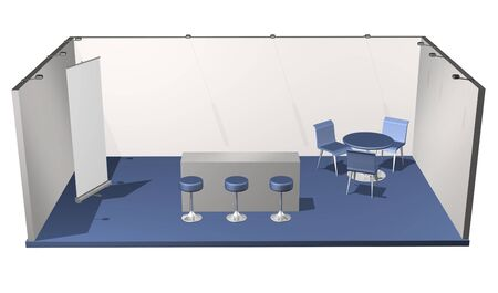 exhibitor: Basic blank fair stand with chairs, table, roll-up, add your own design Stock Photo