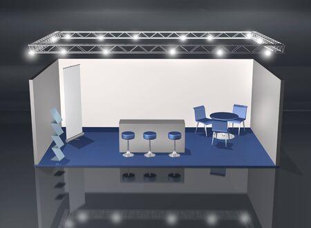 beursvloer: Blanco beursstand met verlichting truss constructie boven