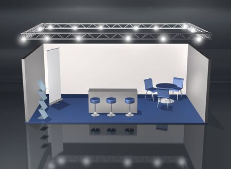 business exhibition: Blank fair stand with lighting truss construction above