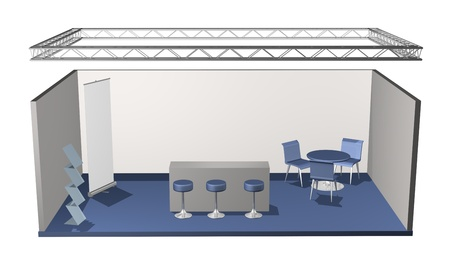 exhibitor: Basic blank fair stand with lighting truss construction above