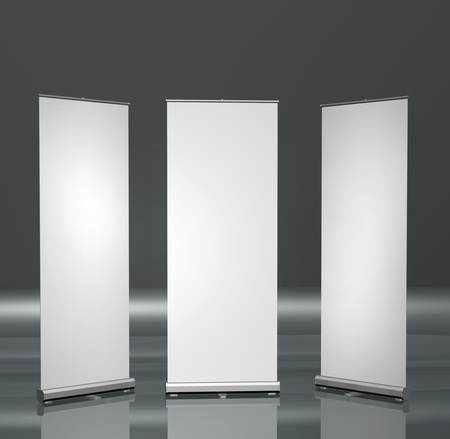 exhibitions: Three blank roll-up posters marketing promotion presentation
