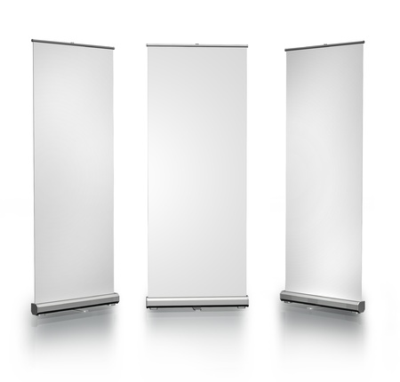 banner stand: Three blank roll-up posters on white background