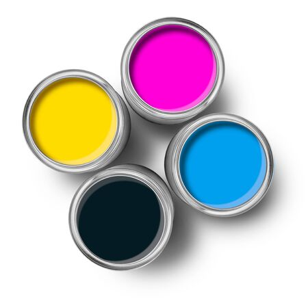 tin cans: Cmyk color paint tin cans opened top view isolated on white