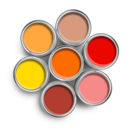 Warm color paint tin cans opened top view isolated on white photo