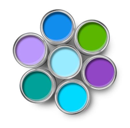 paleta de pintor: Latas de pintura de colores fr�os abri� la vista superior aislada en blanco Foto de archivo