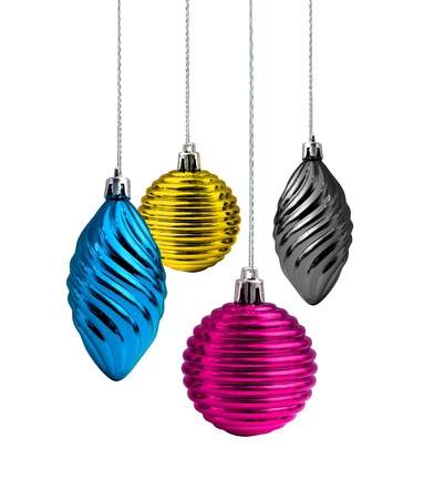 Process cmyk color Christmas decoration glass balls and cones Stock Photo - 9989584