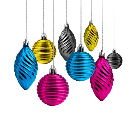 Process cmyk color Christmas decoration glass balls and cones photo